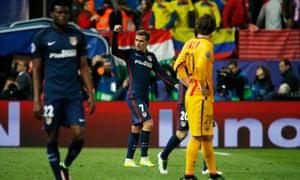 Antoine Griezmann celebrates scoring Atlético's second goal.