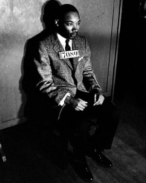 King is arrested in Montgomery, in 1956, after directing a city-wide boycott of segregated buses.