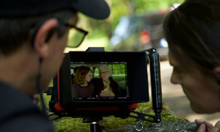 Director Anthony Giacchino and producer Alice Doyard filming Colette on location.