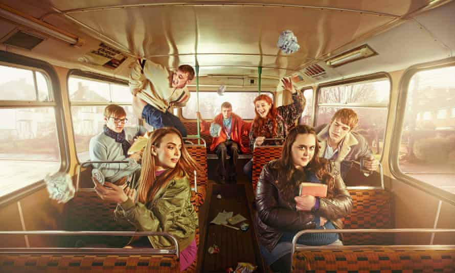 Comer, front left, in My Mad Fat Diary.