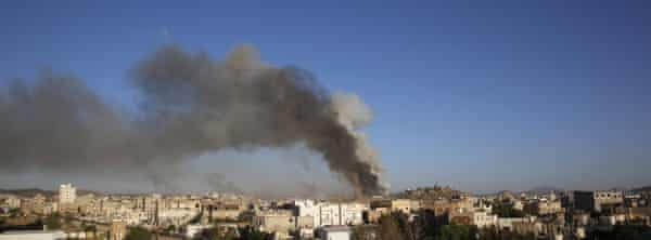 Smoke rises after a Saudi airstrike on a weapons depot in Sana'a.
