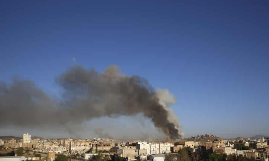 Smoke rises in Sana'a after an airstrike by the Saudi-led coalition.