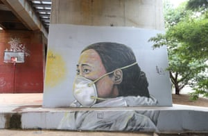 A street art mural of Chinese doctor Ai Fen, by artist Amanda Newman, captured in Melbourne on 22 April.