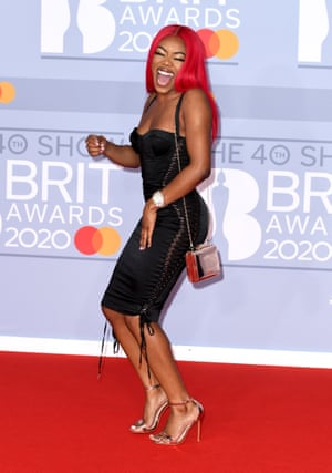 British rapper Lady Leshurr arrives for the Brit awards ceremony on Tuesday night.