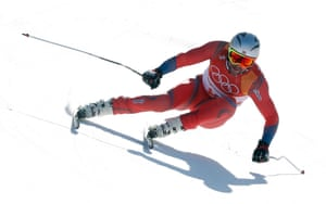 Aksel Lund Svindal of Norway in action during the downhill portion of the men's alpine combined race at the Jeongseon Alpine Centre.