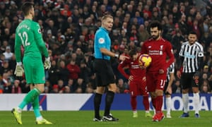 Mohamed Salah was awarded a controversial penalty by referee Graham Scott