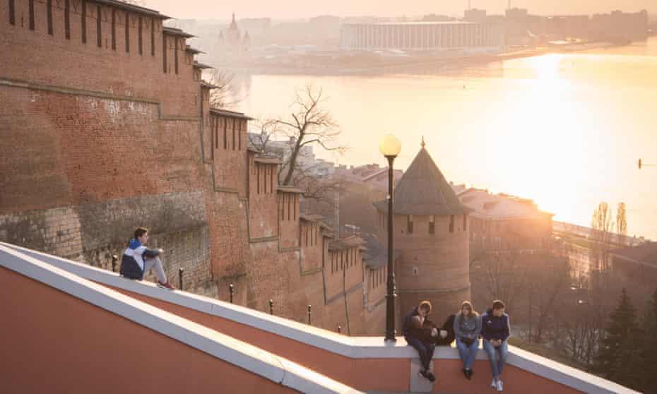 Waiting game … the view from Nizhny Novgorod's kremlin across the Volga and Oka rivers to the new football stadium.