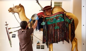 A Horniman technician adjusts the Tuareg camel saddle on display in the World Gallery.