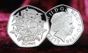 The twelve star of Europe with the letters 'EU' between the anniversary dates 1973 and 1998 on a fifty pence piece from 1998.