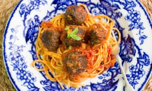 Spaghetti and black pudding meatballs.