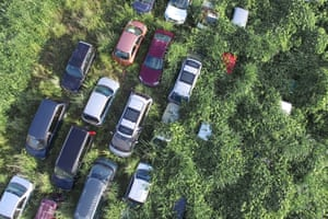 An aerial photograph of abandoned vehicles.