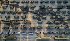 Military vehicles parked ready for a rehearsal of the Victory Day military parade in Moscow.