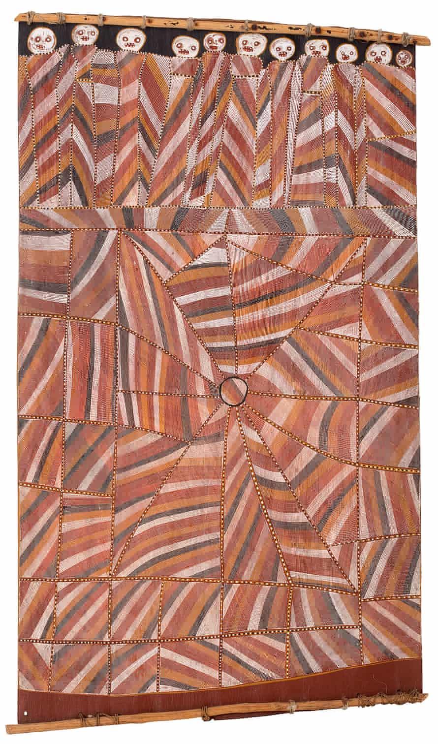 Buluwana, female ancestor, at Dilebang. 1993. Earth pigments on Stringybark (Eucalyptus tetrodonta)