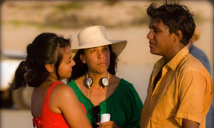 On the Bran Nue Dae set with (from left) Jessica Mauboy, director Rachel Perkins and Rocky McKenzie.