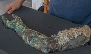 A bronze arm found by excavators at Antikythera shipwreck last month.