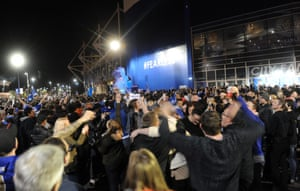 Fans gather to celebrate at the stadium