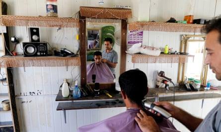 A barber shop in the Zaatari refugee camp in Jordan.