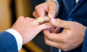Two gay men get married.