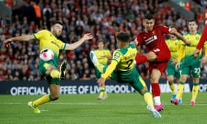 Liverpool's Roberto Firmino shoots at goal but is denied by a fine save from Tim Krul.