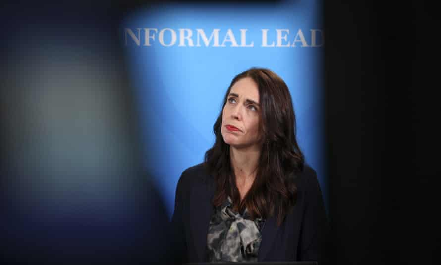 New Zealand Prime Minister Jacinda Ardern looks on during a press conference for the APEC Informal Leaders' Retreat at the Majestic Centre in Wellington, New Zealand