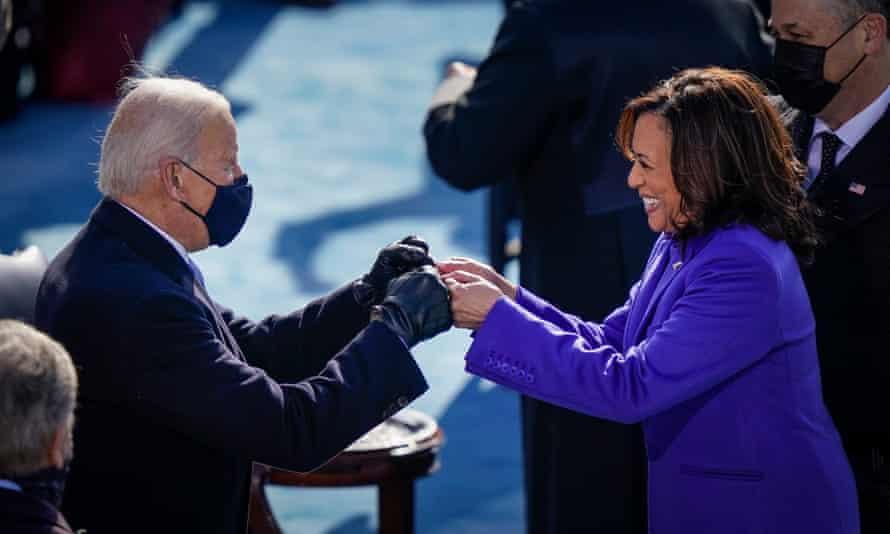 Joe Biden fist-bumps Kamala Harris after she took the oath of office.