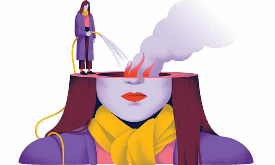 Illustration of woman hosing water on to flames in her head