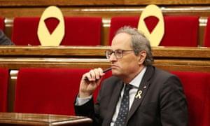 Quim Torra in the Catalan parliament