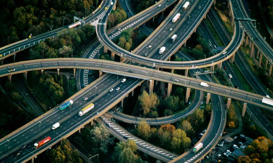 Spaghetti Junction near Birmingham, England. The West Midlands region is criss-crossed with motorways churning NO2 from hundreds of thousands of diesel vehicles.