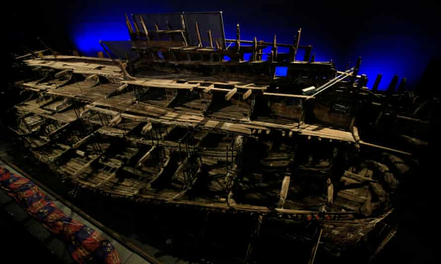 Wreck of the Mary Rose at the Portsmouth Historic Dockyard, HM Naval Base, Portsmouth