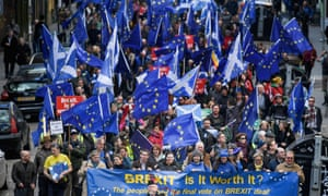 Protesters take part in a march for Europe in Edinburgh on 24 March 2018.
