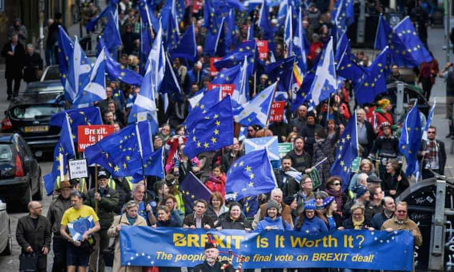 Protestors take part in a March for Europe rally in Edinburgh, Scotland.