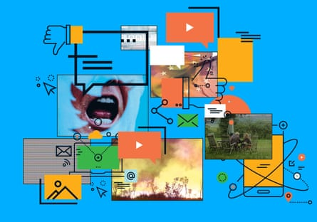 illustration collage: screens, mouths, speech bubbles, news images