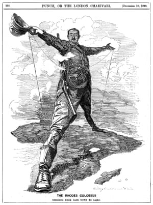 """1892 Punch cartoon depicting British colonialist Cecil Rhodes striding across Africa, """"from Cape Town to Cairo"""", with a telegraph wire."""