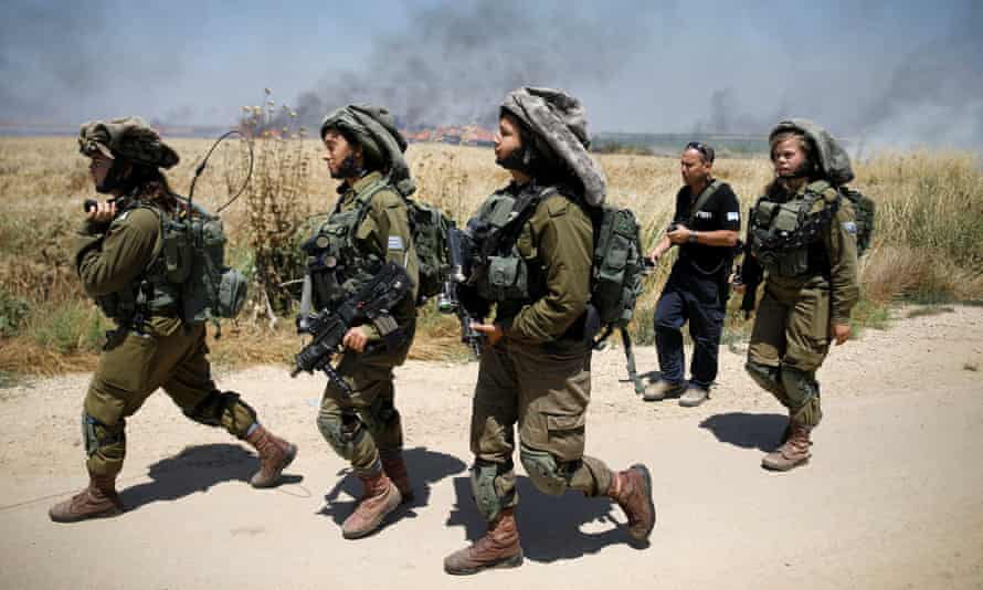 Israeli soldiers patrol the border with Gaza where there were violent clashes earlier this month.