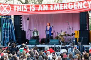 Greta Thunberg on stage at an Extinction Rebellion protest camp in London, April 2019.