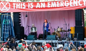 Greta Thunberg speaks at the Extinction Rebellion group's protest at Marble Arch in London in April.