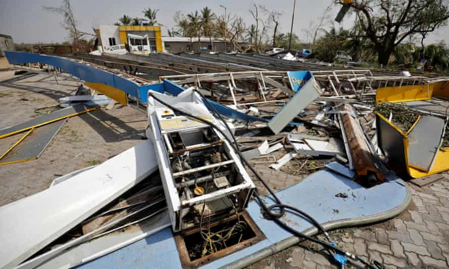 A petrol station flattened by Cyclone Tauktae in India's western state of Gujarat.