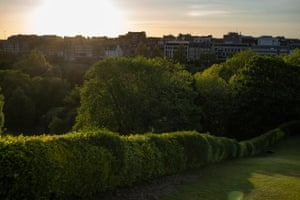 Princes Street gardens viewed from the Mound in the city centre.