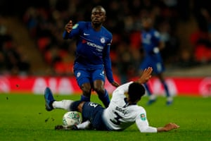 Tottenham Hotspur's Danny Rose thwarts Chelsea's N'Golo Kante with a stonking tackle.