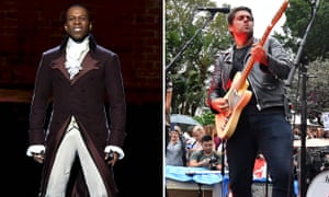 Leslie Odom Jr. as Burr, and, on the right, Dan Sultan