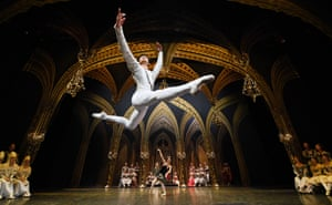 South Korean dancer Kimin Kim from the St.Petersburg Ballet Theatre group performs Swan Lake ahead of the opening night at London Coliseum.