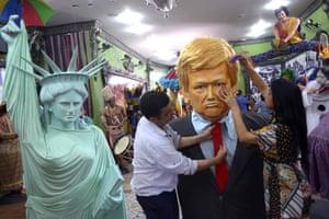Olinda, Brazil A large dummy representing Donald Trump to be used during the upcoming carnival parades is being readied at the Embaixada de Pernambuco dos Bonecos Gigantes de Olinda (Olinda Giant Dummies Pernambuco's Embassy)