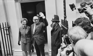 Jennifer Jenkins with her husband Roy Jenkins, then chancellor of the exchequer, leaving 11 Downing Street on budget day, 1970