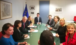 Michel Barnier (3rd from left), the EU's chief Brexit negotiator, meeting a Sinn Fein team including the party president Mary Lou McDonald (third from right) and Michelle O'Neill, the Northern Ireland leader (second from right)