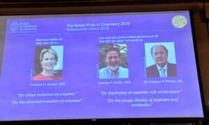 Frances H Arnold, George P Smith and Gregory P Winter have been named the winners of the 2018 Nobel prize for chemistry.