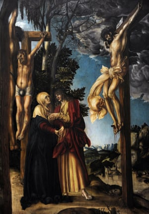 Crucifixion, by Lucas Cranach the Elder, 1503, at the Alte Pinakothek, Munich.