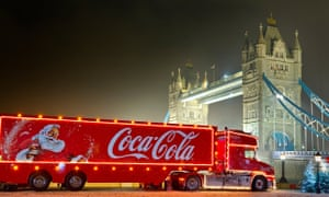 A Coca-Cola Christmas lorry at Tower Bridge, London.