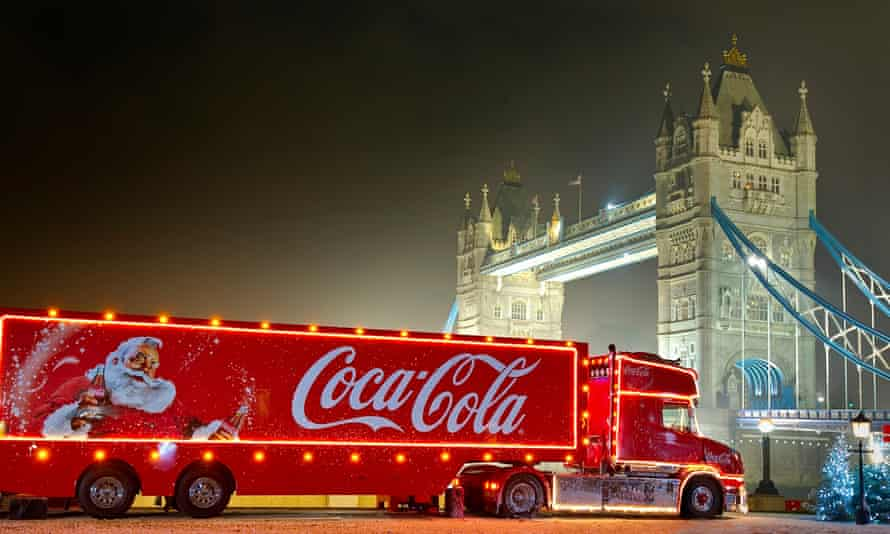 A Coca-Cola Christmas lorry at Tower Bridge, London.