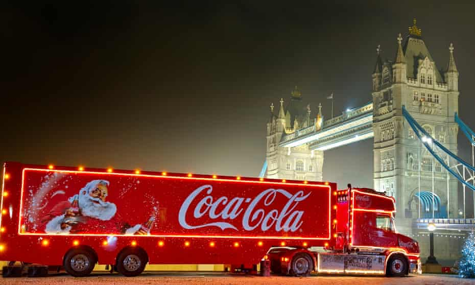 A Coca-Cola Christmas truck in London in 2015