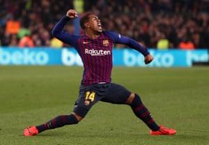 Barcelona's Malcom celebrates scoring their first goal.